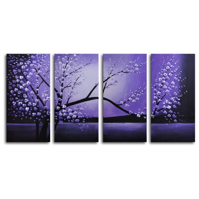 "My Art Outlet Hand Painted ""Winter Solstice"" 4-Piece Canvas Art Set"