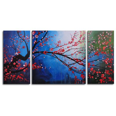 My Art Outlet Stormy Cherry Tree 3-Piece Painting Print on Canvas Set