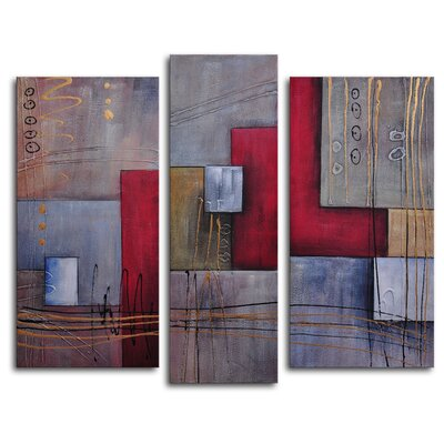 "My Art Outlet Hand Painted ""Staff Against Cubes"" 3-Piece Canvas Art Set"
