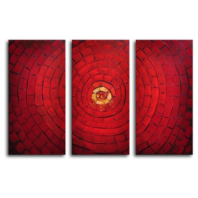 "My Art Outlet Hand Painted ""In the Middle"" 3-Piece Canvas Art Set"