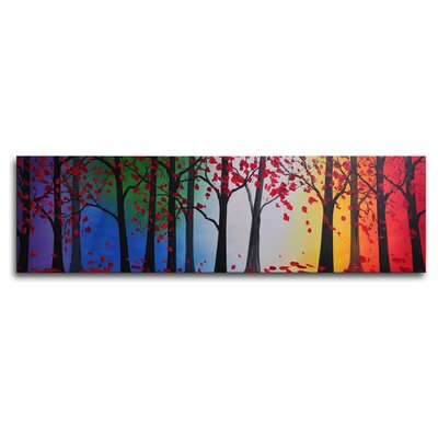 "My Art Outlet Hand Painted ""Trees Hold Hands"" Canvas Wall Art - 12"" x 40"""