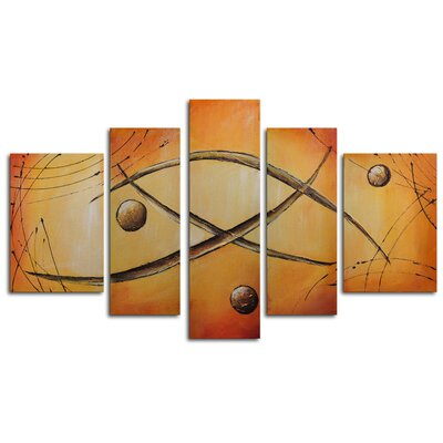 "My Art Outlet Hand Painted ""Orbs Jump Rope"" 5-Piece Canvas Art Set"