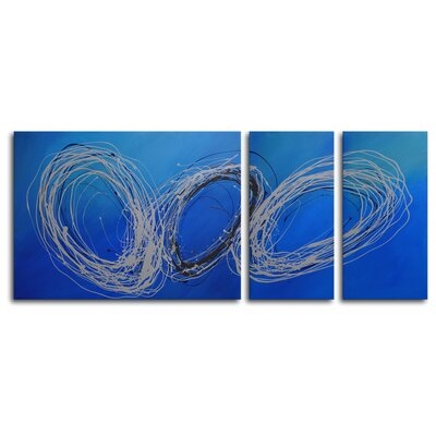 "My Art Outlet Hand Painted ""Coils of Wire"" 3-Piece Canvas Art Set"