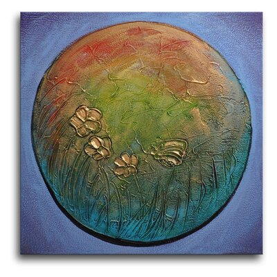 "My Art Outlet Hand Painted ""Planet Earth"" Canvas Wall Art - 20"" x 20"""