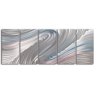 "My Art Outlet ""Pink and White Taffy Panels"" 5 Piece Contemporary Handmade Metal Wall Art Set"