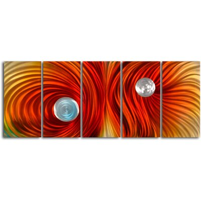 "My Art Outlet ""Eyes on Satin Twister"" 5 Piece Contemporary Handmade Metal Wall Art Set"