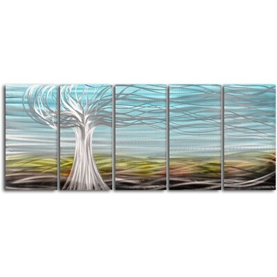 My Art Outlet Ghostly Tree 5 Piece Original Painting Plaque Set