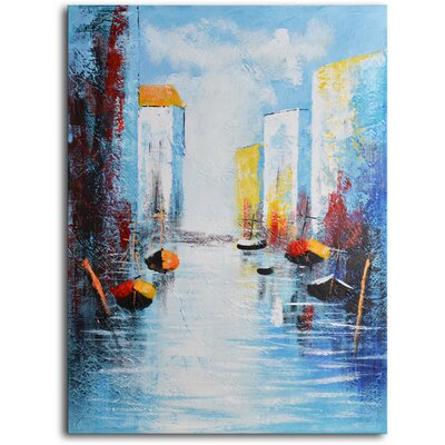 "My Art Outlet Hand Painted Modern Oil Painting ""Sail Boats and Silos"" Canvas Wall Art"