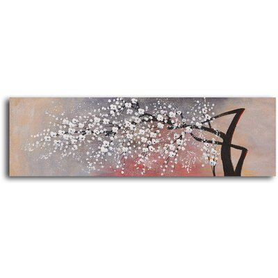 "My Art Outlet Hand Painted ""Cotton Ball Blossom"" Oil Canvas Art"
