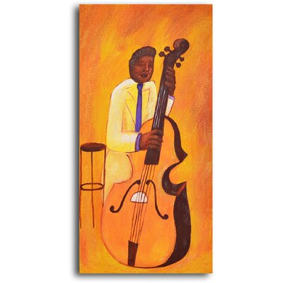 "My Art Outlet Hand Painted ""Yellow Jacket Cellist"" Oil Canvas Art"