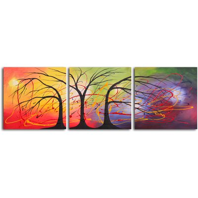 My Art Outlet Equilibrium in The Light 3 Piece Original Painting on Canvas Set