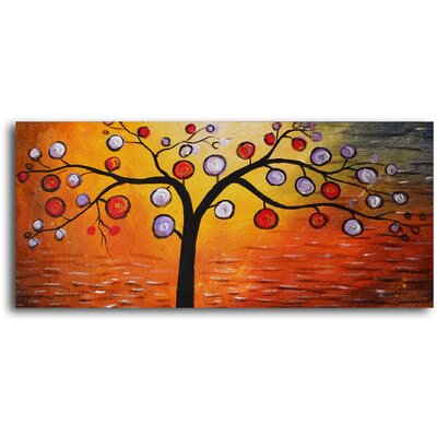 "My Art Outlet Hand Painted ""Lolly Pop Tree"" Oil Canvas Art"