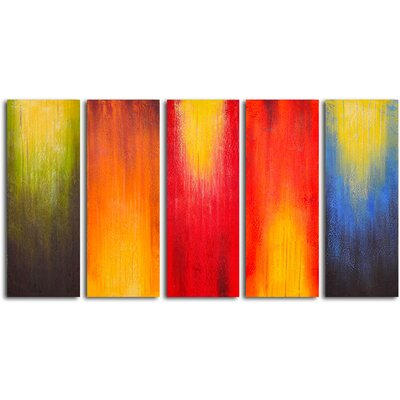 "My Art Outlet Hand Painted ""Paintbrush Panels of Color"" 5 Piece Oil Canvas Art Set"