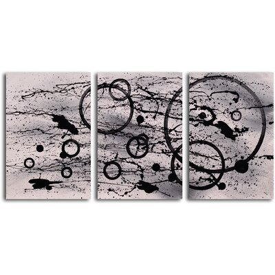 "My Art Outlet Hand Painted ""Black on White Expression"" 3 Piece Oil Canvas Art Set"