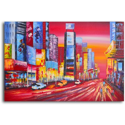 "My Art Outlet Hand Painted ""Fast Track"" Oil Canvas Art"