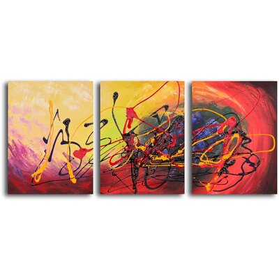 "My Art Outlet Hand Painted ""Picture of Confusion"" 3 Piece Oil Canvas Art Set"