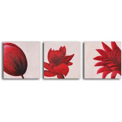 "My Art Outlet Hand Painted ""Maroon Blooms"" 3 Piece Oil Canvas Art Set"