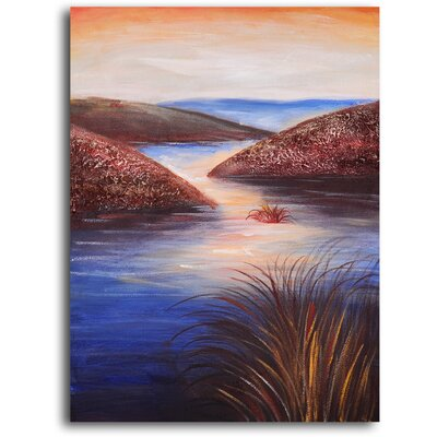 "My Art Outlet Hand Painted ""Raindrops on Estuary"" Oil Canvas Art"