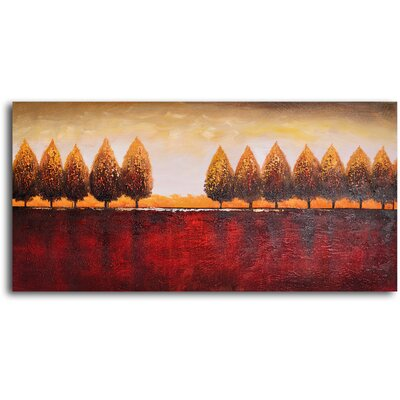 "My Art Outlet Hand Painted ""Gold Trees Red Earth"" Oil Canvas Art"