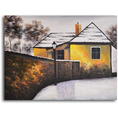 "My Art Outlet Hand Painted ""House on The Corner"" Oil Canvas Art"