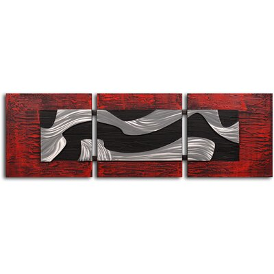 "My Art Outlet Handcrafted ""Metallic Black and White"" Metal on Hand Painted Canvas"