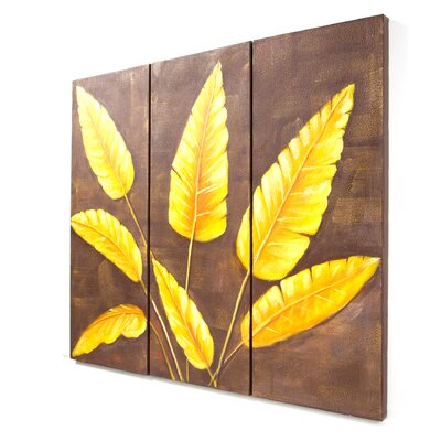 "My Art Outlet Hand Painted ""Tropical Leaves"" 3 Piece Oil Canvas Art Set"