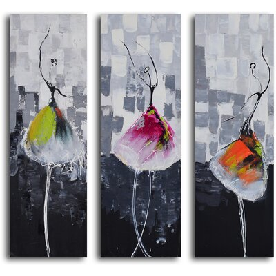 My Art Outlet 3 Piece ''Tutu Trio'' Hand Painted Canvas Set