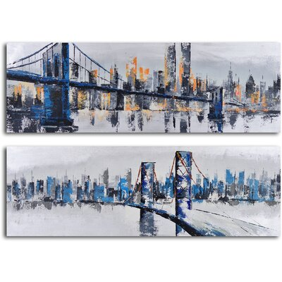 My Art Outlet 2 Piece ''City Suspensions'' Hand Painted Canvas Set