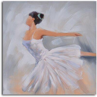 My Art Outlet ''Ballerina in White'' Hand Painted Canvas Art
