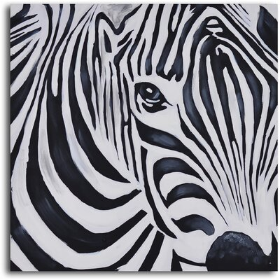 My Art Outlet ''Zebra Perspective'' Hand Painted Canvas Art