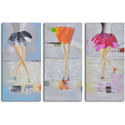 My Art Outlet 3 Piece ''Fancy Feet Trio'' Hand Painted Canvas Set