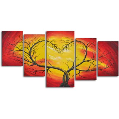 5 Piece ''Branching Out to Love'' Hand Painted Oil Painting Set