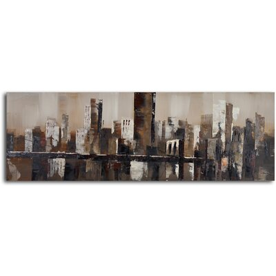 My Art Outlet ''Chocolate City Skyline'' Hand Painted Canvas Art