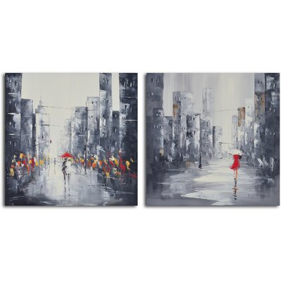 My Art Outlet 2 Piece ''City Puddles Scape'' Hand Painted Canvas Set