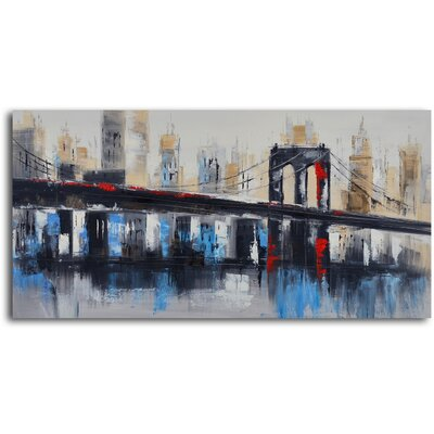 My Art Outlet ''Bridge to Downtown'' Hand Painted Canvas Art
