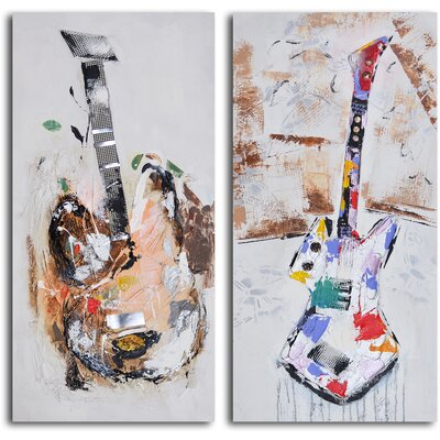 My Art Outlet 2 Piece ''Papier-Maché Guitar Couplet'' Hand Painted Canvas Set