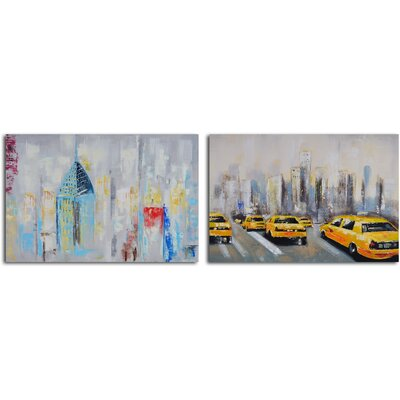 My Art Outlet 2 Piece ''Penthouse Seclusion'' Hand Painted Canvas Set