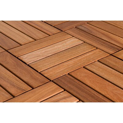 "Flex Deck Brazilian Hardwood 11.6"" x 11.6"" Interlocking Deck Tiles in Copacabana Ipe Champagne"