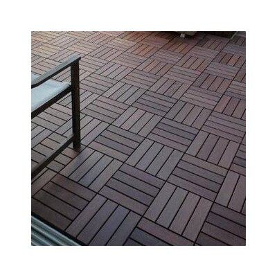"Flex Deck Brazilian Hardwood 11.6"" x 11.6"" Interlocking Deck Tiles in Copacabana Itauba"