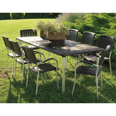 Nardi Maestrale 220cm Table with optional Musa Chairs Set in Coffee