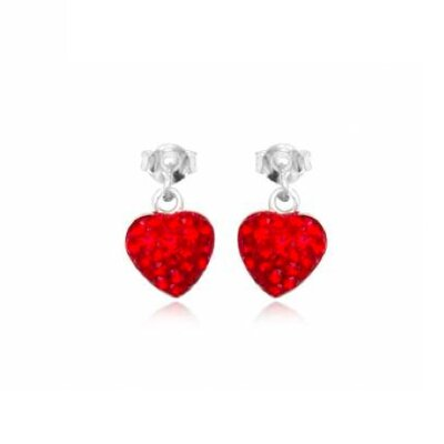 Ayana Jewelry Heart-shaped Studs Earrings with White with Swarovski Elements