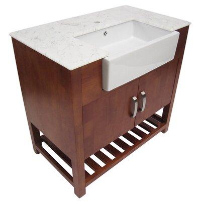 "Alfi Brand 35.25"" Single Farmhouse Sink Bathroom Vanity Set with Door"