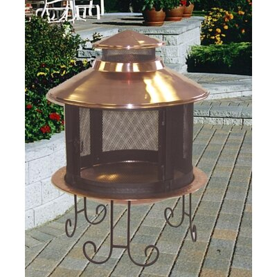 Unique Arts Small Solid Copper Pagoda Fireplace