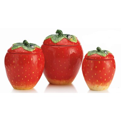 Home Essentials Vintage Strawberry Canister (Set of 3)