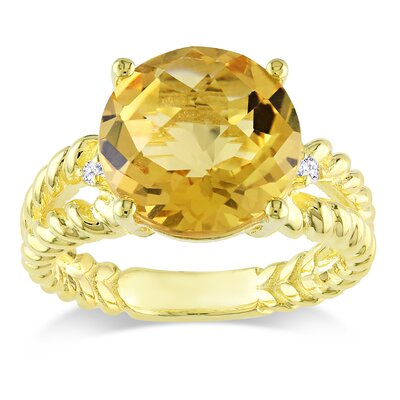 Silver Round Cut Citrine Ring