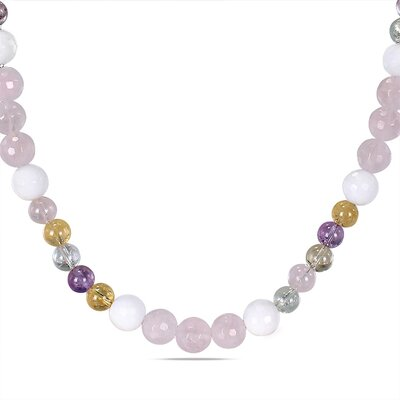 Multi-colored Quartz and White Jasper Endless Fashion Necklace