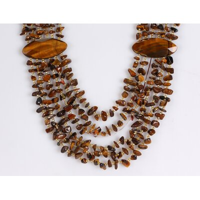 Tiger Eye Chips Necklace with Brass Spring Ring Clasp