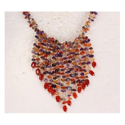 Amour Carnelian and Amethyst Necklace with Multi-Strand Hanging