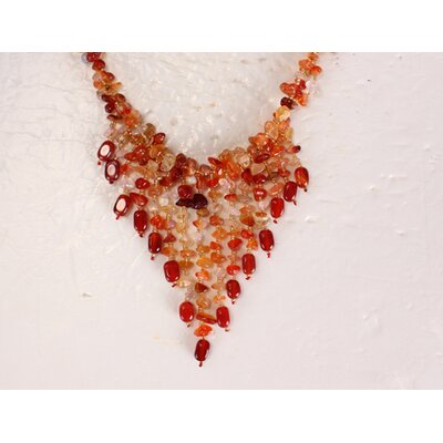Mixed Agate and Carnelian Chips Necklace in Red / Orange / Yellow