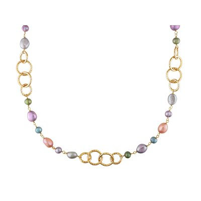 Miadora Multicolored Cultured Pearl Round Link Necklace